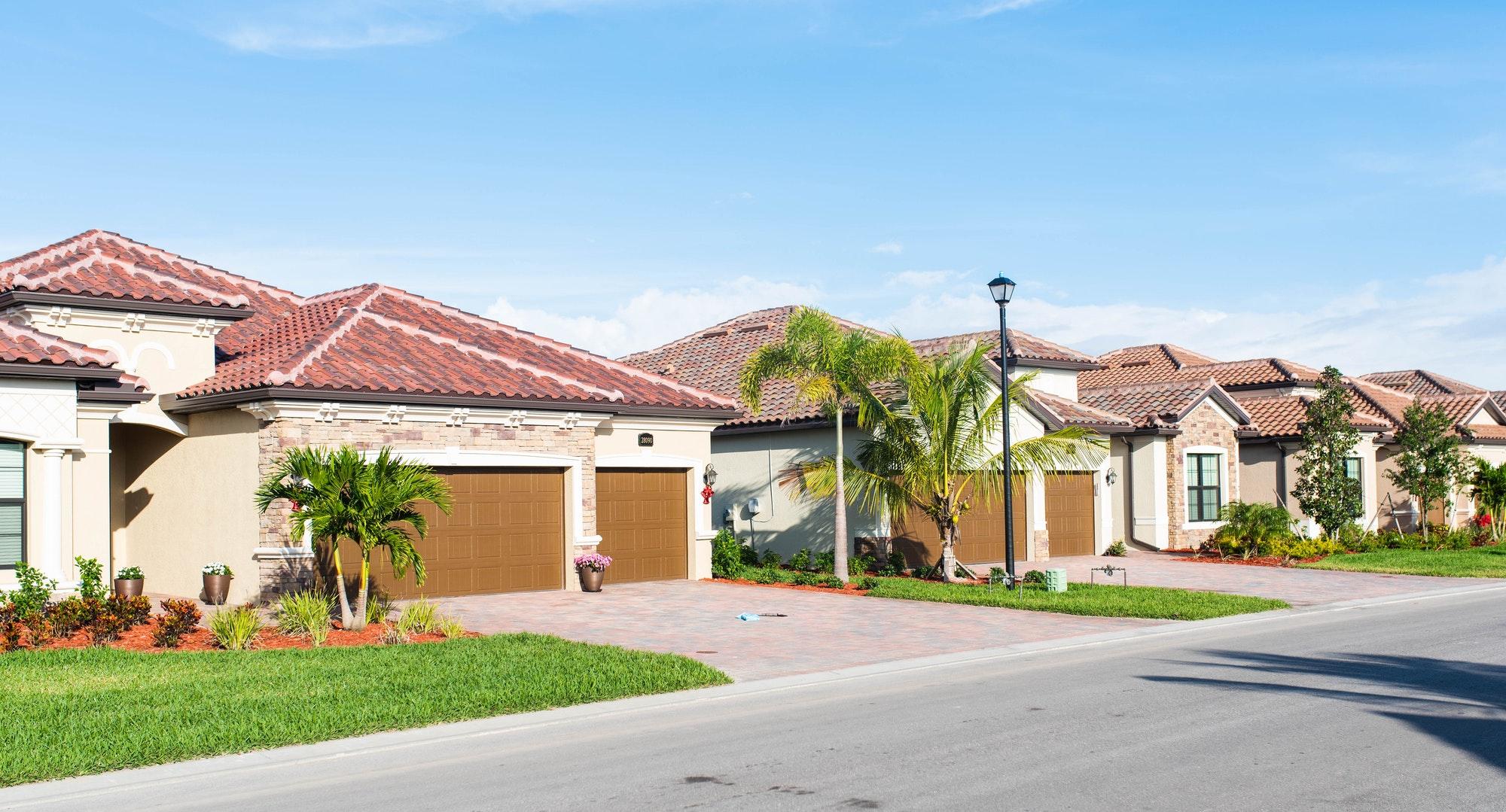 Florida golf community houses background. Bonita Springs, Florida